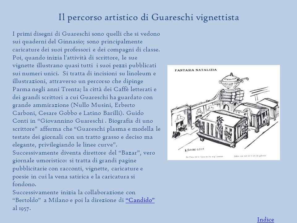 Il percorso artistico di Guareschi vignettista I primi disegni di Guareschi sono quelli che si vedono sui quaderni del Ginnasio; sono principalmente caricature dei suoi professori e dei compagni di classe.