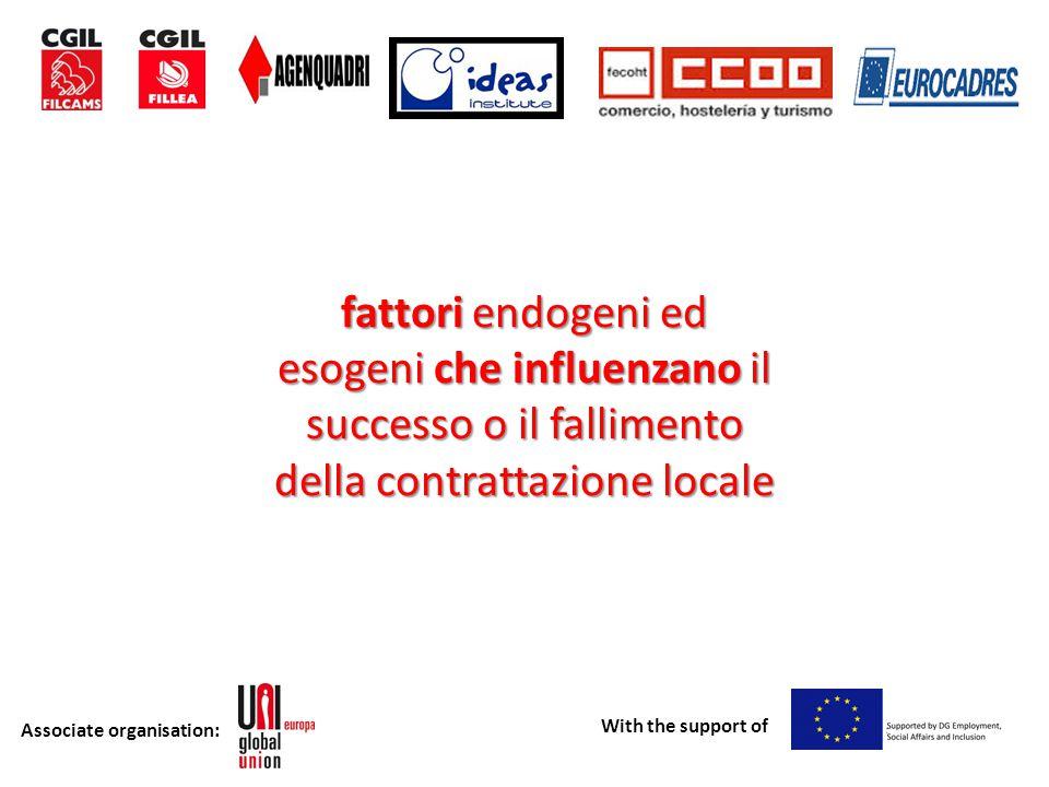 Associate organisation: With the support of fattori endogeni ed esogeni che influenzano il successo o il fallimento della contrattazione locale