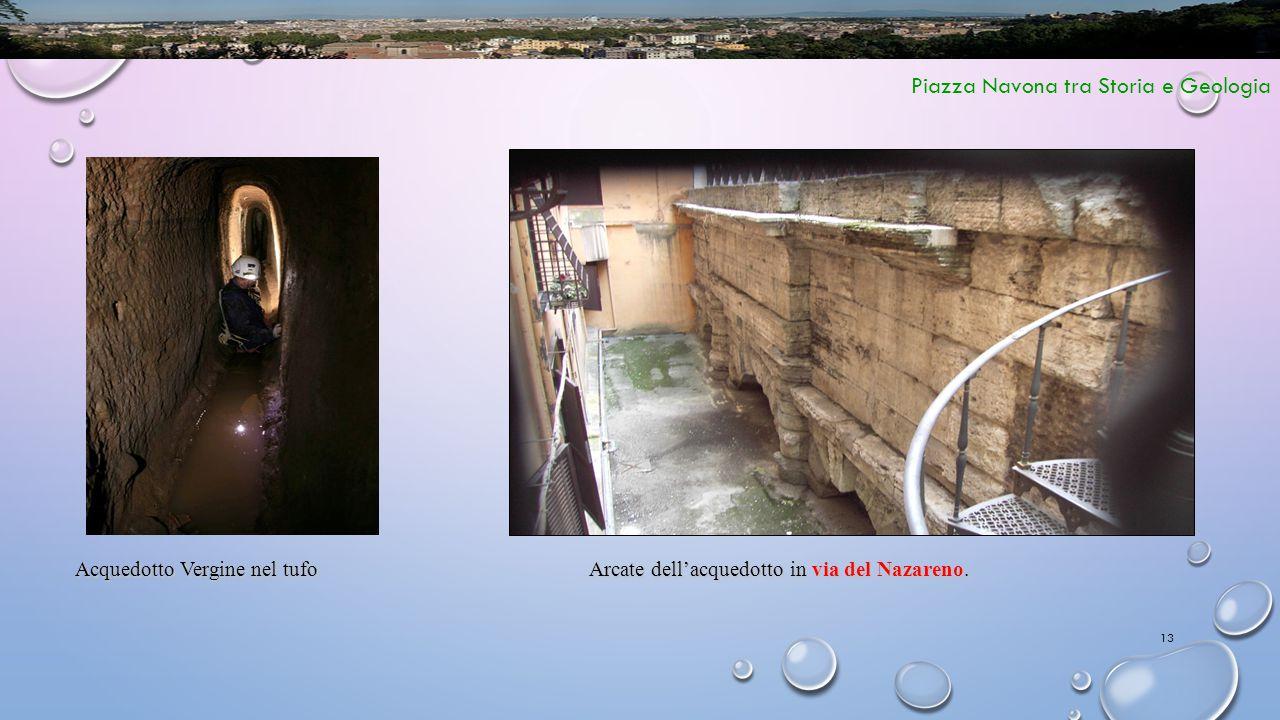 13 Piazza Navona tra Storia e Geologia Arcate dell'acquedotto in via del Nazareno. Acquedotto Vergine nel tufo