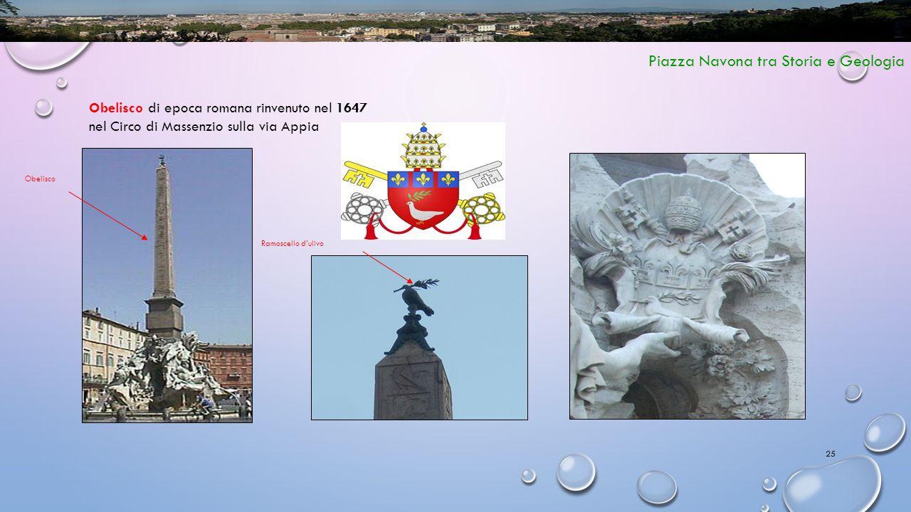 25 Piazza Navona tra Storia e Geologia Obelisco di epoca romana rinvenuto nel 1647 nel Circo di Massenzio sulla via Appia Ramoscello d'ulivo Obelisco