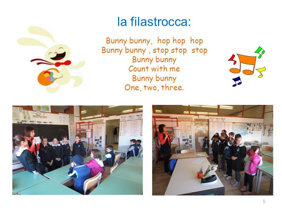 5 Bunny bunny, hop hop hop Bunny bunny, stop stop stop Bunny bunny Count with me Bunny bunny One, two, three.