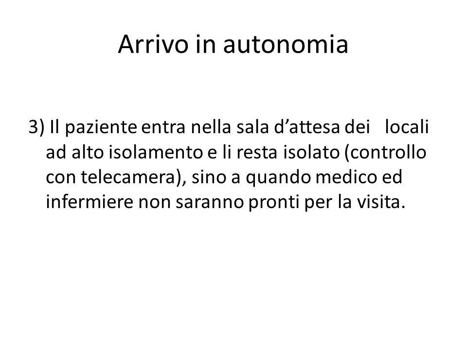 Arrivo in autonomia 3) Il paziente entra nella sala d'attesa dei locali ad alto isolamento e li resta isolato (controllo con telecamera), sino a quando medico ed infermiere non saranno pronti per la visita.