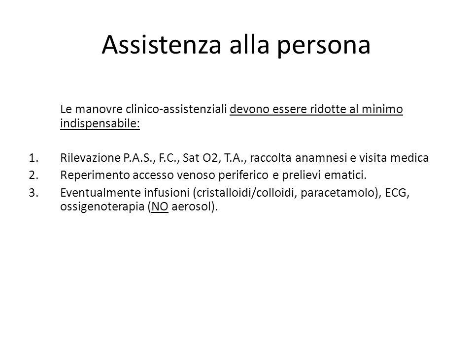 Assistenza alla persona Le manovre clinico-assistenziali devono essere ridotte al minimo indispensabile: 1.Rilevazione P.A.S., F.C., Sat O2, T.A., rac