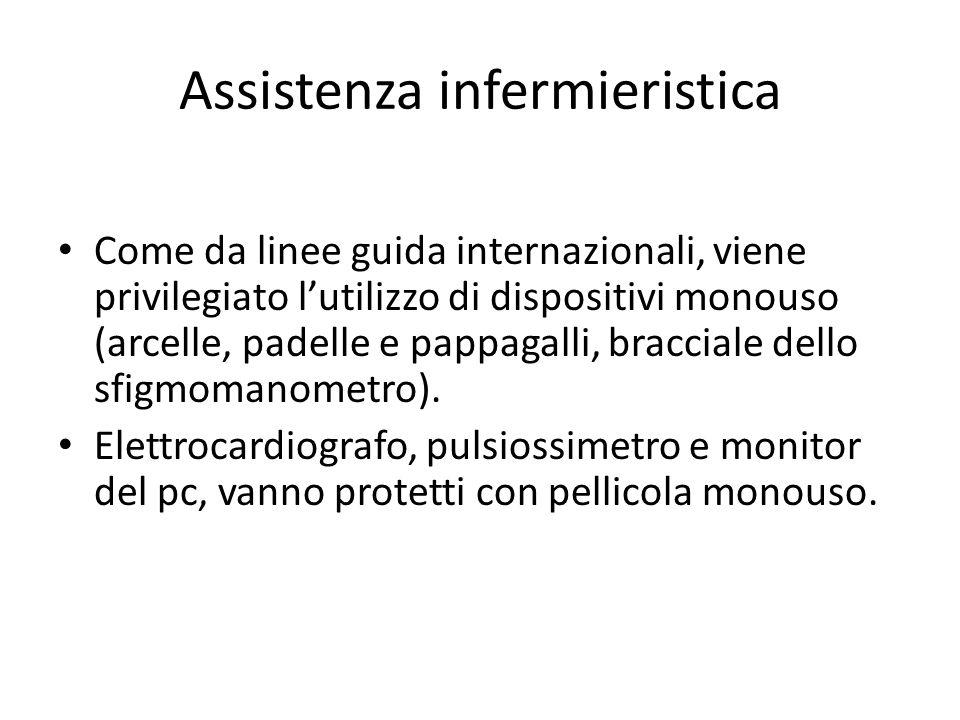 Assistenza infermieristica Come da linee guida internazionali, viene privilegiato l'utilizzo di dispositivi monouso (arcelle, padelle e pappagalli, bracciale dello sfigmomanometro).