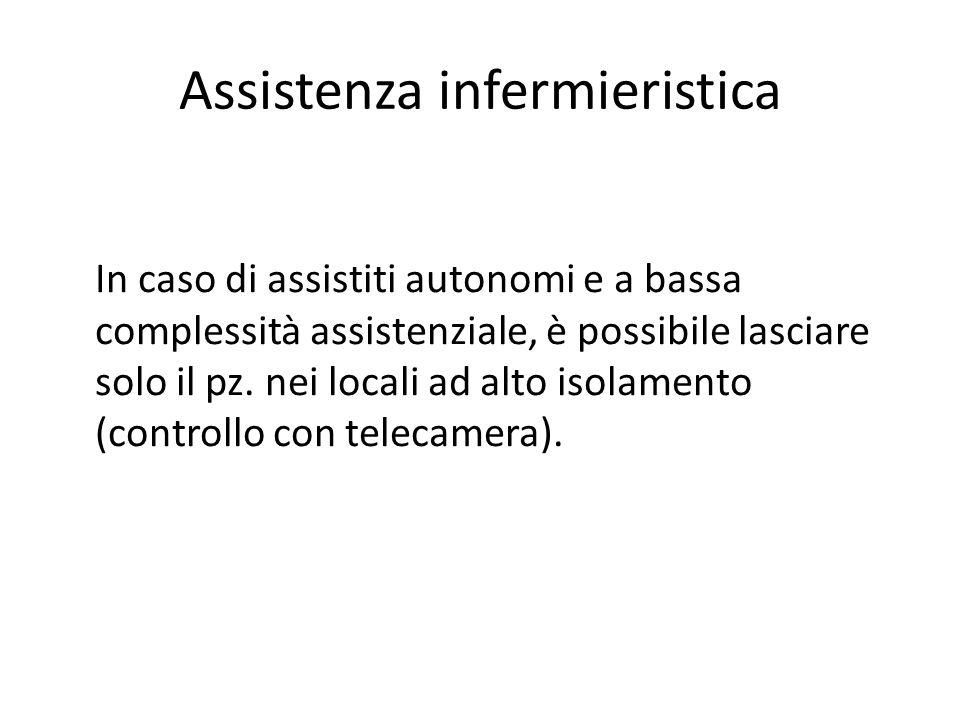 Assistenza infermieristica In caso di assistiti autonomi e a bassa complessità assistenziale, è possibile lasciare solo il pz. nei locali ad alto isol