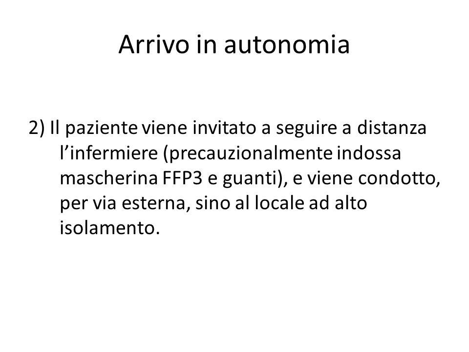 Arrivo in autonomia 2) Il paziente viene invitato a seguire a distanza l'infermiere (precauzionalmente indossa mascherina FFP3 e guanti), e viene condotto, per via esterna, sino al locale ad alto isolamento.