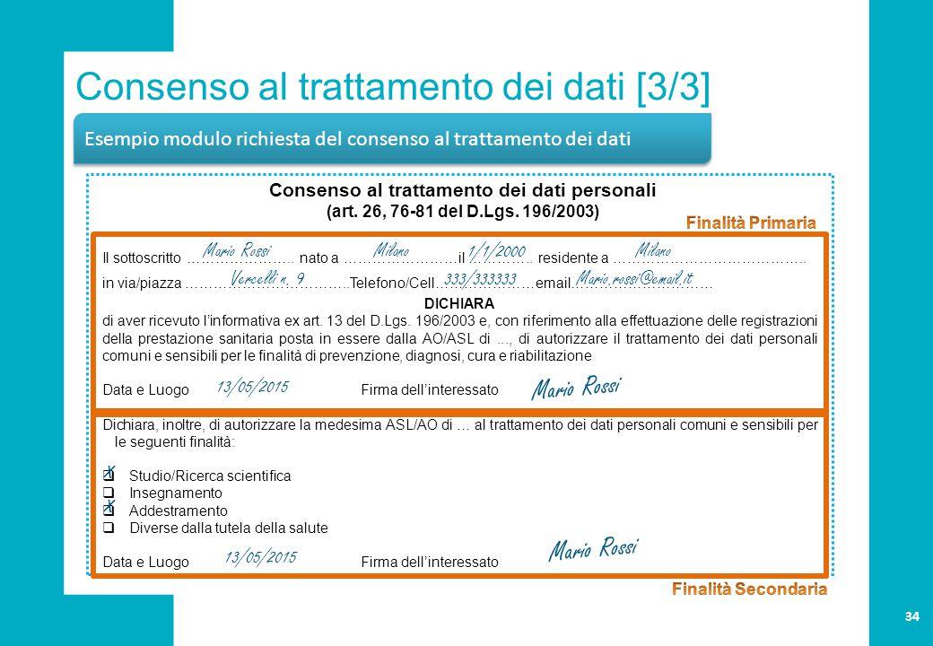Consenso al trattamento dei dati [3/3] Esempio modulo richiesta del consenso al trattamento dei dati Consenso al trattamento dei dati personali (art.