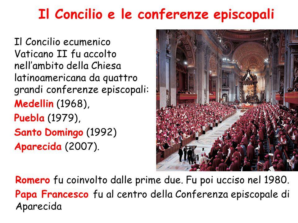 Il Concilio e le conferenze episcopali Il Concilio ecumenico Vaticano II fu accolto nell'ambito della Chiesa latinoamericana da quattro grandi confere
