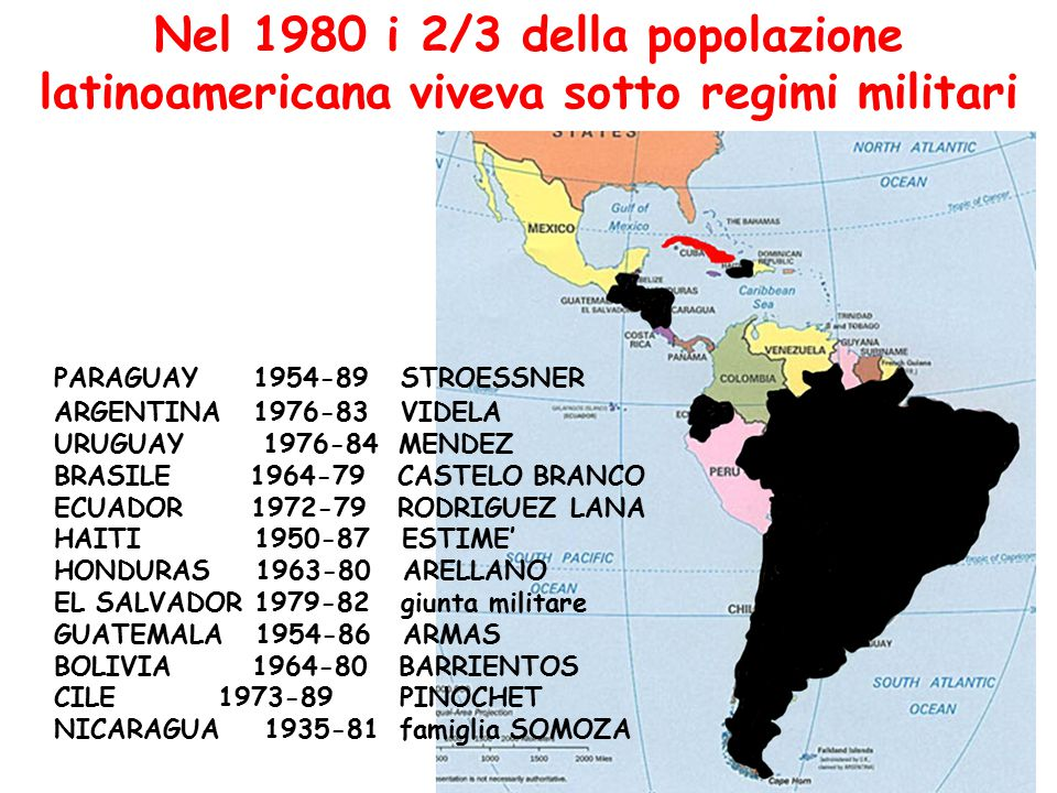 Nel 1980 i 2/3 della popolazione latinoamericana viveva sotto regimi militari PARAGUAY 1954-89 STROESSNER ARGENTINA 1976-83 VIDELA URUGUAY 1976-84 MEN
