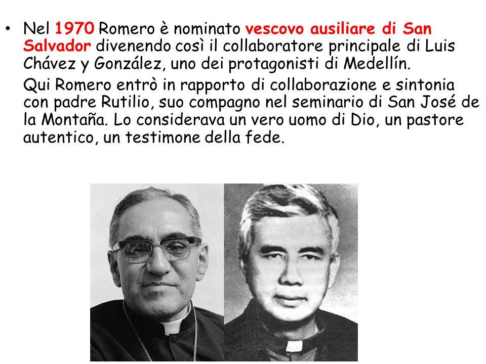 Nel 1970 Romero è nominato vescovo ausiliare di San Salvador divenendo così il collaboratore principale di Luis Chávez y González, uno dei protagonist