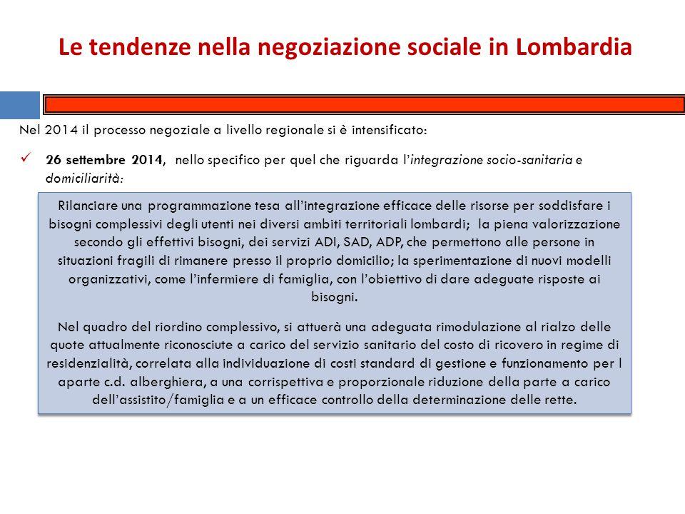 Le tendenze nella negoziazione sociale in Lombardia L'Assessore alla Famiglia Solidarietà Sociale e Volontariato ha mostrato ai rappresentanti dei Sindacati, in data 7 novembre 2014, il Programma operativo regionale per il fondo nazionale per le non autosufficienze 2014 .