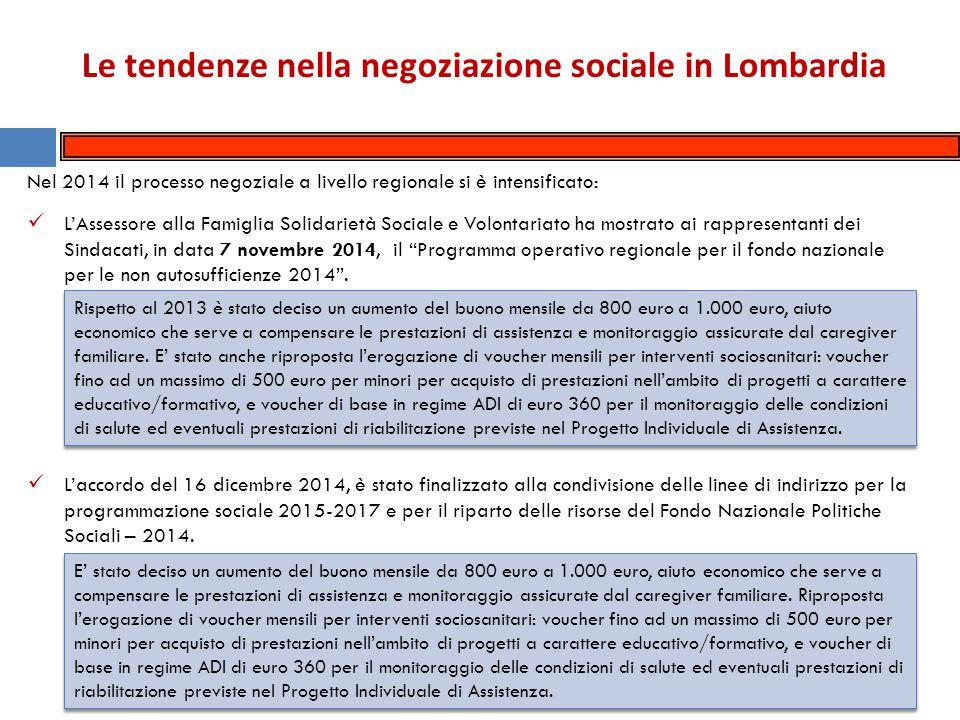 Le tendenze nella negoziazione sociale in Lombardia Nel 2014 gli accordi complessivamente siglati da Spi-Fnp-Uilp risultano 402, di cui 366 sottoscritti con i Comuni, 14 con i Piani di zona, 10 con le Asl (per la gestione dei servizi socio-sanitari), 4 con la Regione Lombardia e con le Residenze sanitarie assistenziali (Rsa), 2 con l'associazione nazionale dei comuni (Anci) e con il Consiglio di rappresentanza dei comuni della provincia di Lecco.