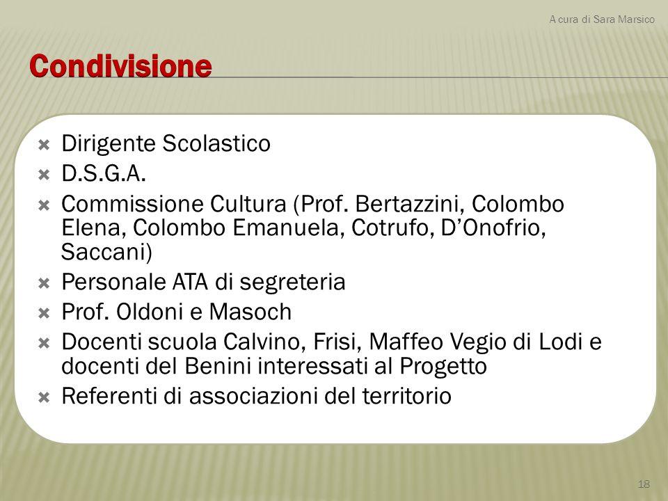  Dirigente Scolastico  D.S.G.A.  Commissione Cultura (Prof. Bertazzini, Colombo Elena, Colombo Emanuela, Cotrufo, D'Onofrio, Saccani)  Personale A