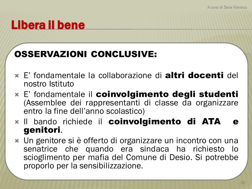 OSSERVAZIONI CONCLUSIVE:  E' fondamentale la collaborazione di altri docenti del nostro Istituto  E' fondamentale il coinvolgimento degli studenti (