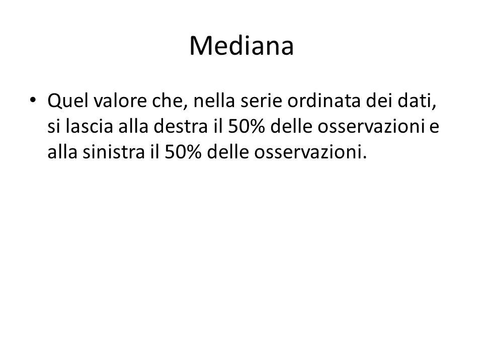 Mediana Quel valore che, nella serie ordinata dei dati, si lascia alla destra il 50% delle osservazioni e alla sinistra il 50% delle osservazioni.