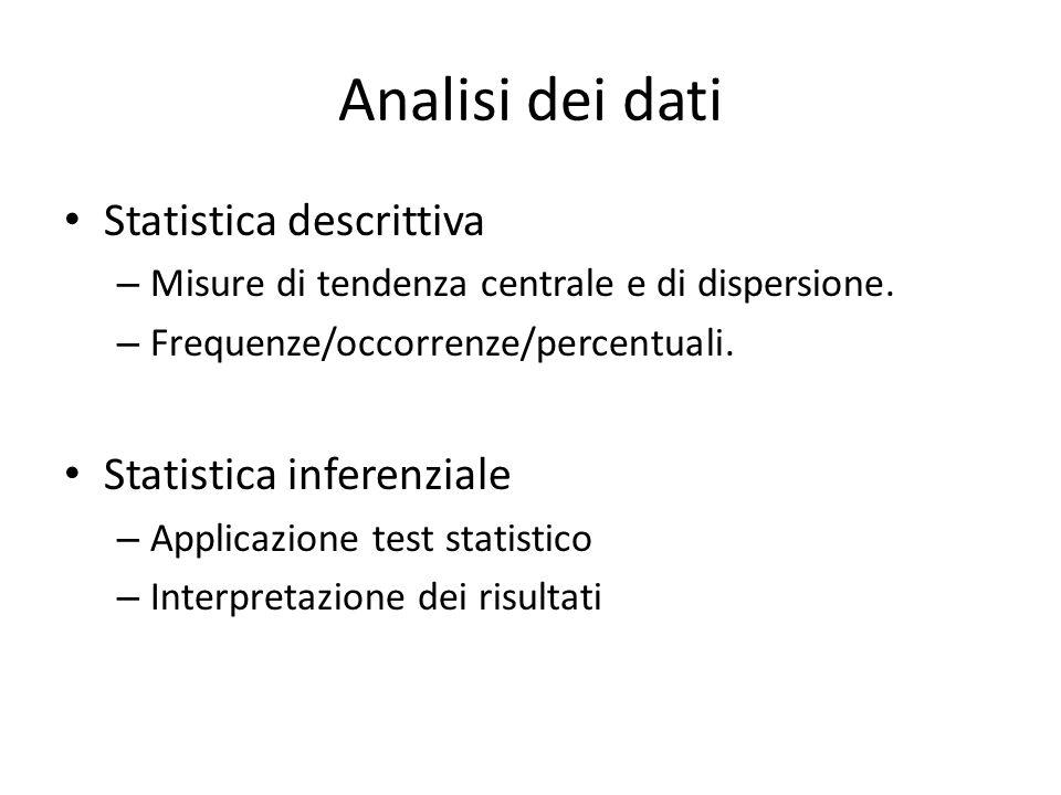Analisi dei dati Statistica descrittiva – Misure di tendenza centrale e di dispersione. – Frequenze/occorrenze/percentuali. Statistica inferenziale –