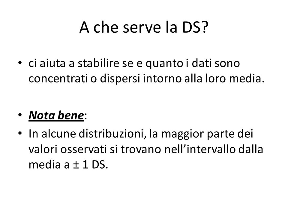 A che serve la DS.
