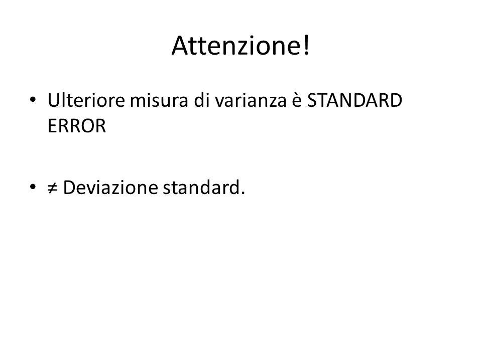 Attenzione! Ulteriore misura di varianza è STANDARD ERROR ≠ Deviazione standard.