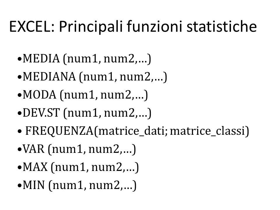 EXCEL: Principali funzioni statistiche MEDIA (num1, num2,…) MEDIANA (num1, num2,…) MODA (num1, num2,…) DEV.ST (num1, num2,…) FREQUENZA(matrice_dati; matrice_classi) VAR (num1, num2,…) MAX (num1, num2,…) MIN (num1, num2,…)