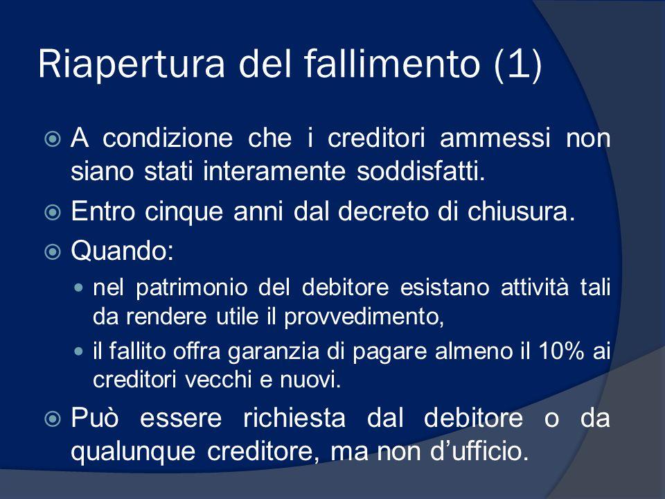 Riapertura del fallimento (1)  A condizione che i creditori ammessi non siano stati interamente soddisfatti.