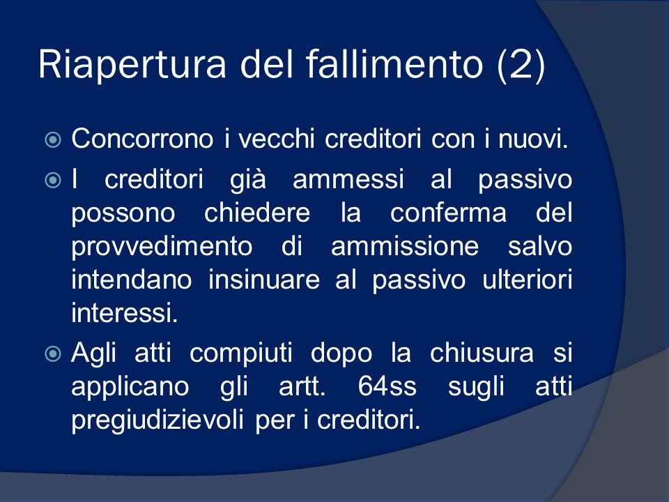 Riapertura del fallimento (2)  Concorrono i vecchi creditori con i nuovi.