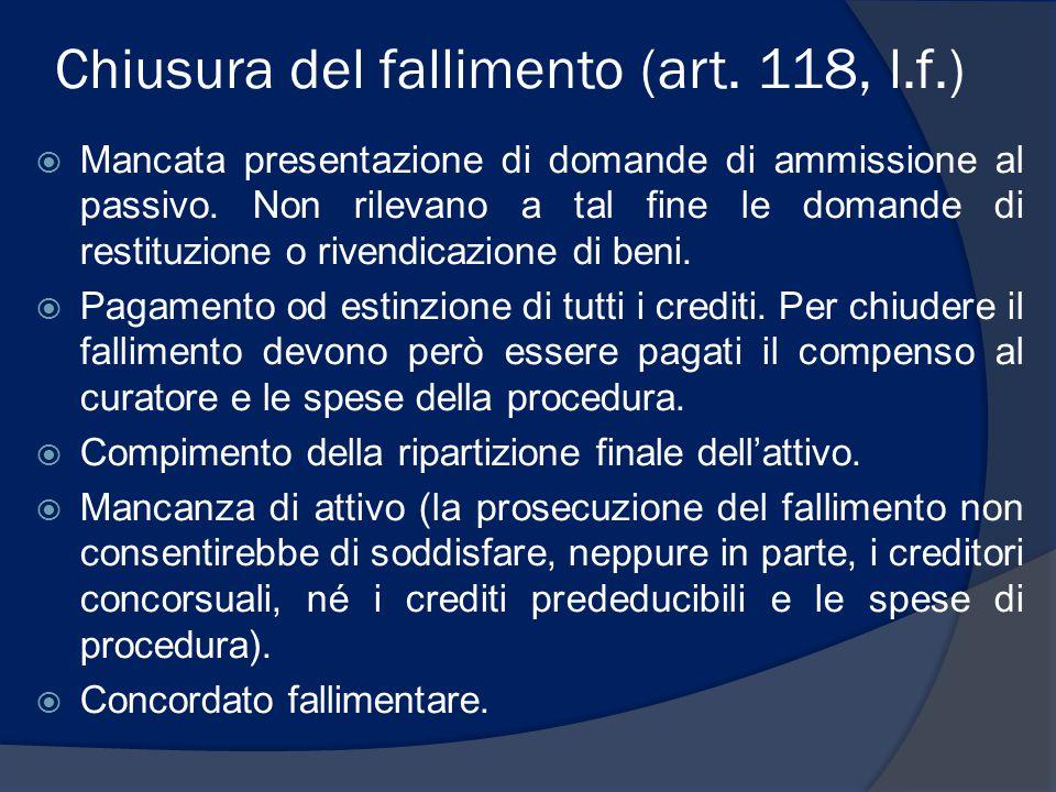 Chiusura del fallimento (art.