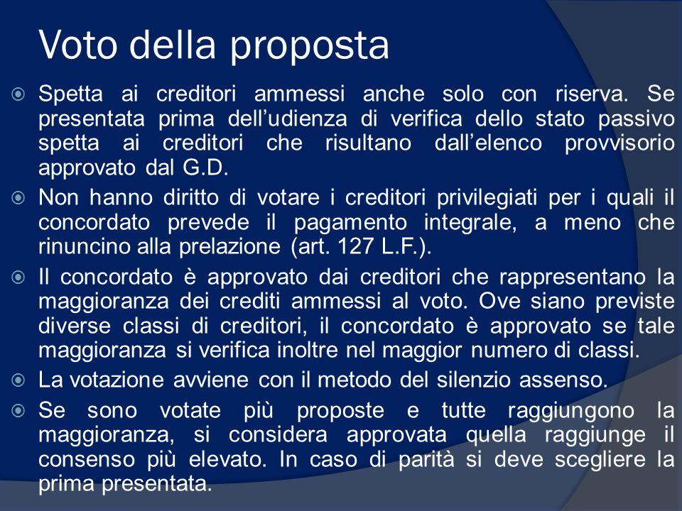 Voto della proposta  Spetta ai creditori ammessi anche solo con riserva.