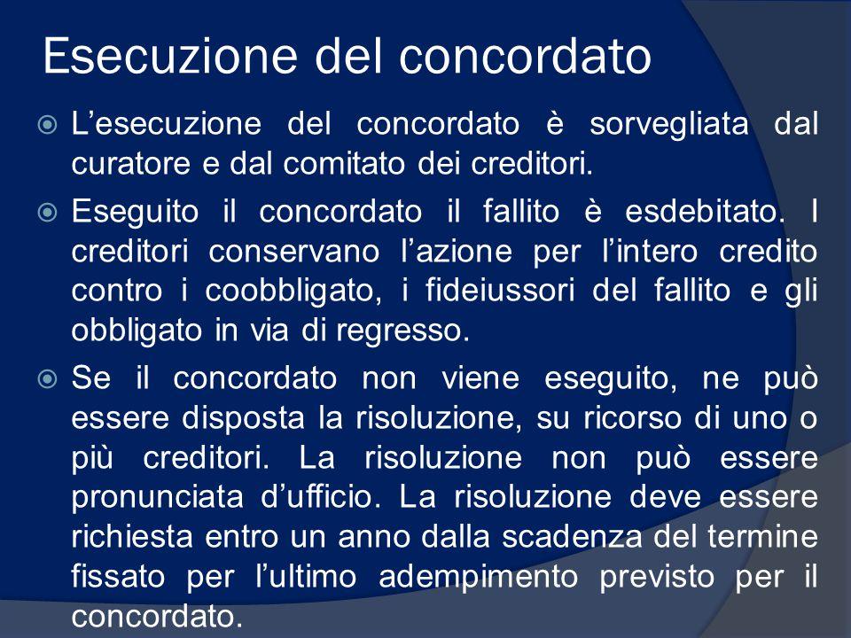 Esecuzione del concordato  L'esecuzione del concordato è sorvegliata dal curatore e dal comitato dei creditori.