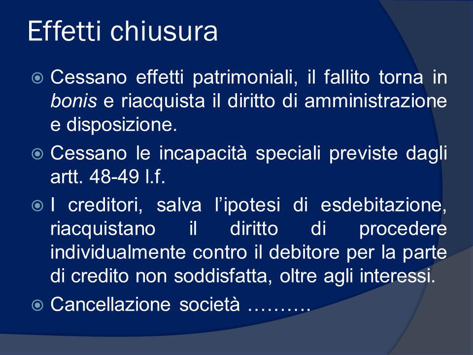 Suddivisione creditori in classi (2)  Secondo l'art.