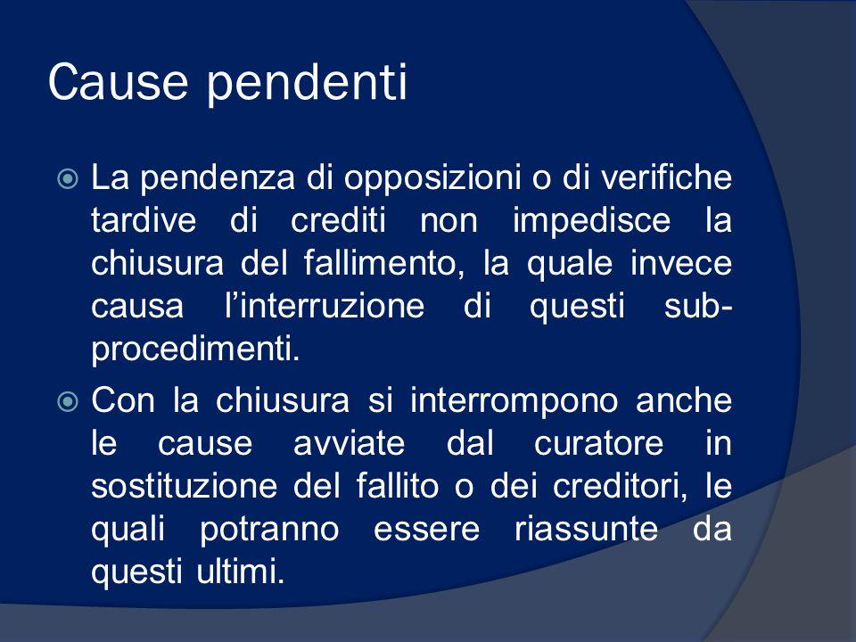 Cause pendenti  La pendenza di opposizioni o di verifiche tardive di crediti non impedisce la chiusura del fallimento, la quale invece causa l'interruzione di questi sub- procedimenti.