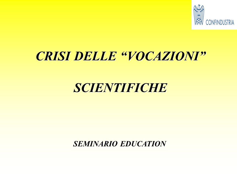 CRISI DELLE VOCAZIONI SCIENTIFICHE SEMINARIO EDUCATION