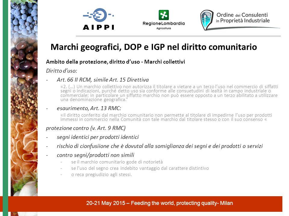 20-21 May 2015 – Feeding the world, protecting quality- Milan Marchi geografici, DOP e IGP nel diritto comunitario Ambito della protezione, diritto d'uso - Marchi collettivi Diritto d'uso: -Art.