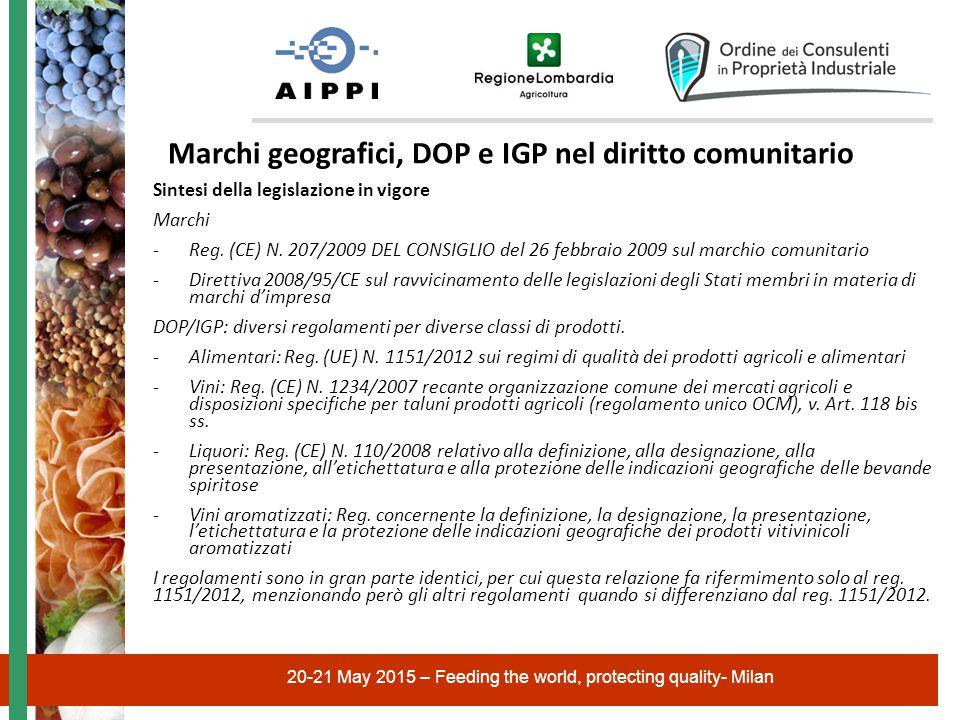 20-21 May 2015 – Feeding the world, protecting quality- Milan Marchi geografici, DOP e IGP nel diritto comunitario Sintesi della legislazione in vigore Marchi -Reg.