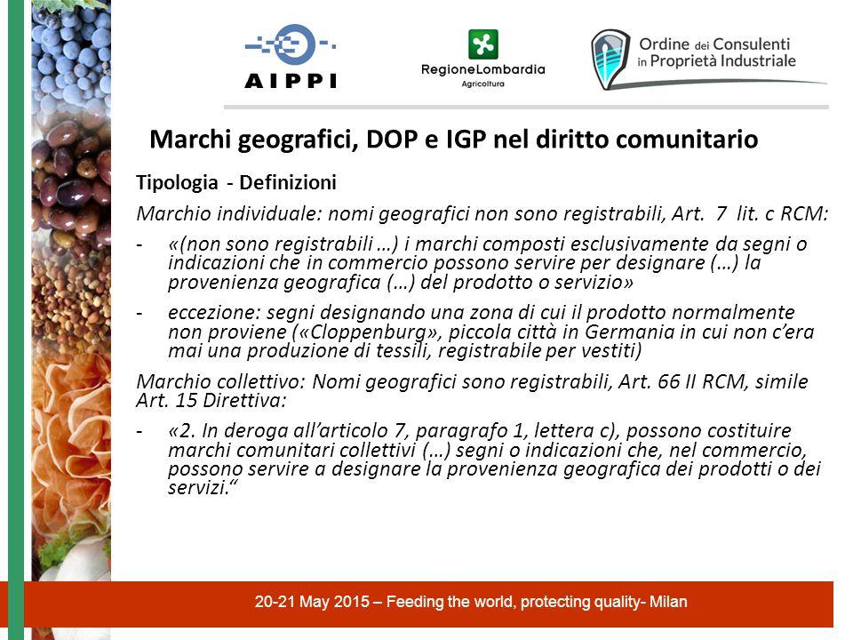 20-21 May 2015 – Feeding the world, protecting quality- Milan Marchi geografici, DOP e IGP nel diritto comunitario Tipologia - Definizioni Marchio individuale: nomi geografici non sono registrabili, Art.