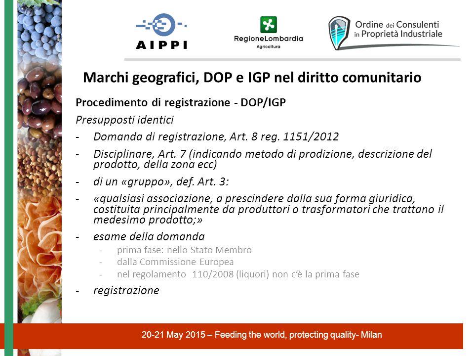 20-21 May 2015 – Feeding the world, protecting quality- Milan Marchi geografici, DOP e IGP nel diritto comunitario Procedimento di registrazione - DOP/IGP Presupposti identici -Domanda di registrazione, Art.