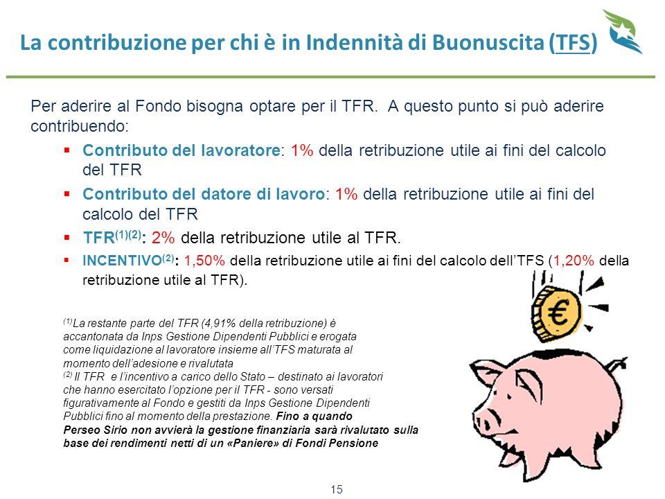 15 La contribuzione per chi è in Indennità di Buonuscita (TFS) Per aderire al Fondo bisogna optare per il TFR. A questo punto si può aderire contribue