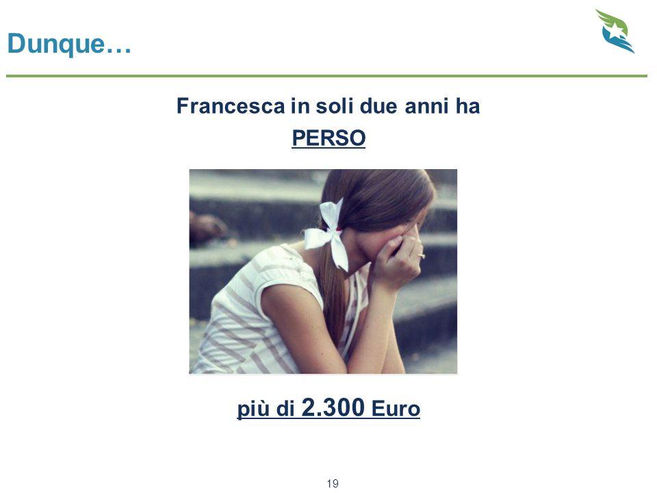Dunque… Francesca in soli due anni ha PERSO più di 2.300 Euro 19