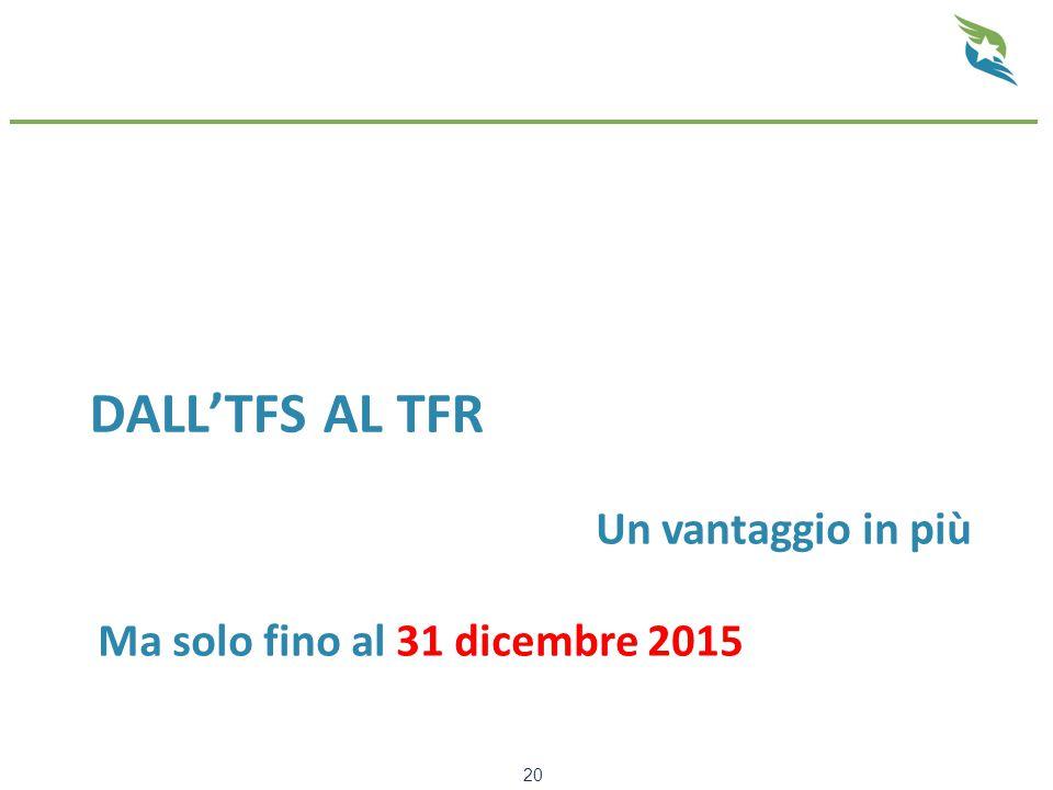 DALL'TFS AL TFR 20 Un vantaggio in più Ma solo fino al 31 dicembre 2015