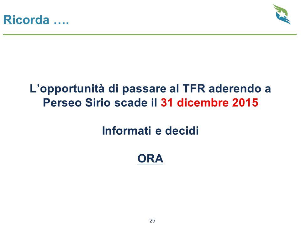 Ricorda …. L'opportunità di passare al TFR aderendo a Perseo Sirio scade il 31 dicembre 2015 Informati e decidi ORA 25