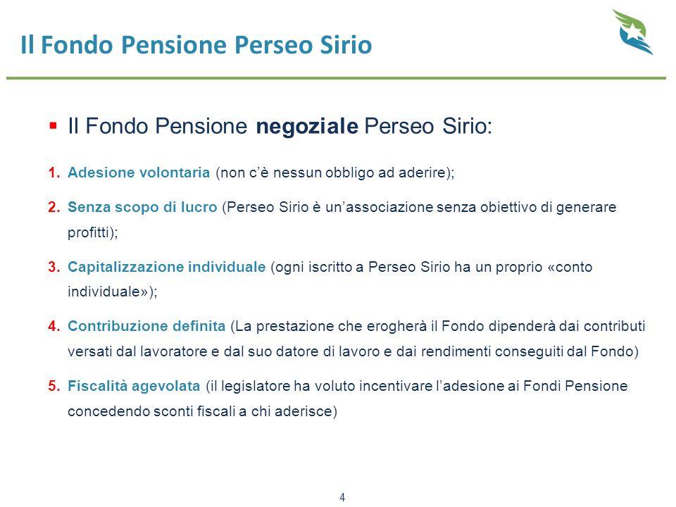 Il Fondo Pensione Perseo Sirio  Il Fondo Pensione negoziale Perseo Sirio: 1.Adesione volontaria (non c'è nessun obbligo ad aderire); 2.Senza scopo di