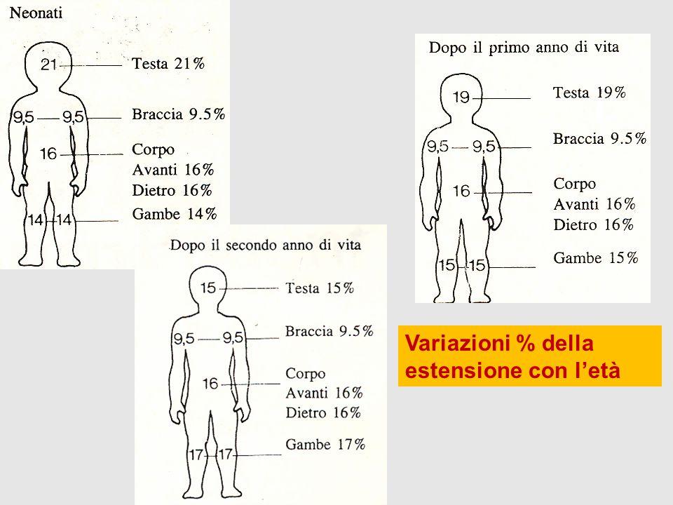 Variazioni % della estensione con l'età