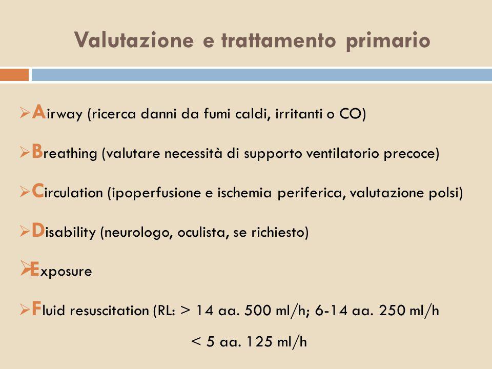Valutazione e trattamento primario  A irway (ricerca danni da fumi caldi, irritanti o CO)  B reathing (valutare necessità di supporto ventilatorio p
