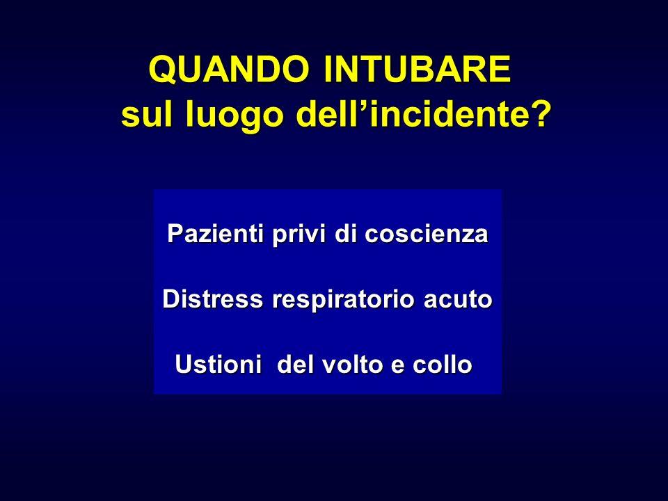 QUANDO INTUBARE sul luogo dell'incidente? Pazienti privi di coscienza Distress respiratorio acuto Ustioni del volto e collo