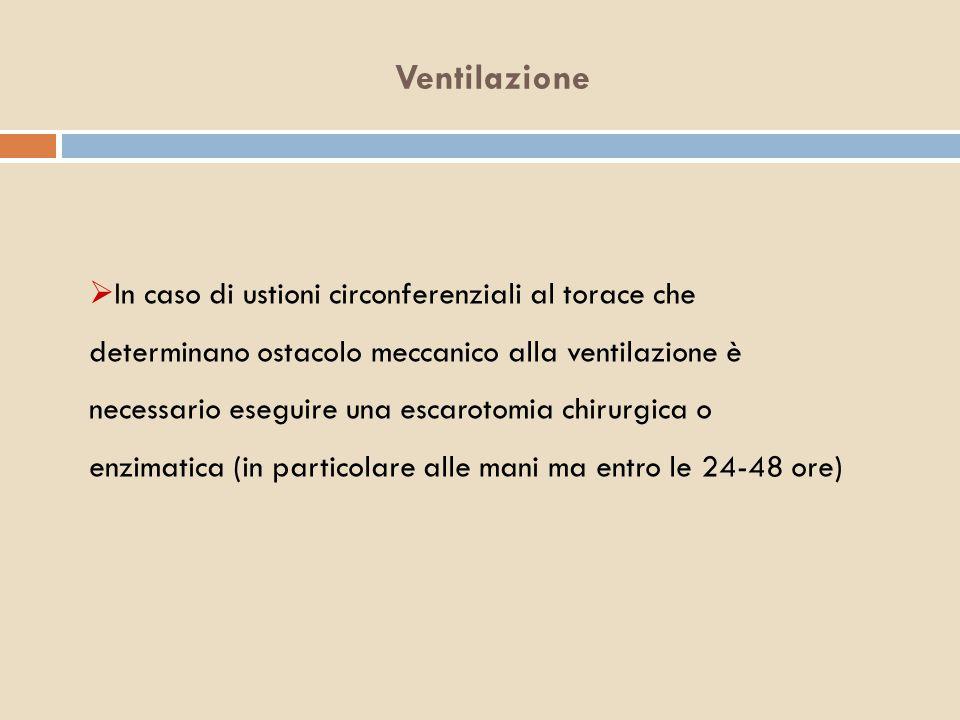 Ventilazione  In caso di ustioni circonferenziali al torace che determinano ostacolo meccanico alla ventilazione è necessario eseguire una escarotomi