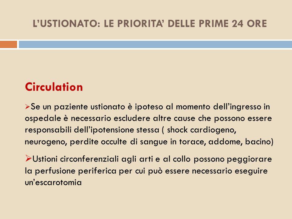 L'USTIONATO: LE PRIORITA' DELLE PRIME 24 ORE Circulation  Se un paziente ustionato è ipoteso al momento dell'ingresso in ospedale è necessario esclud