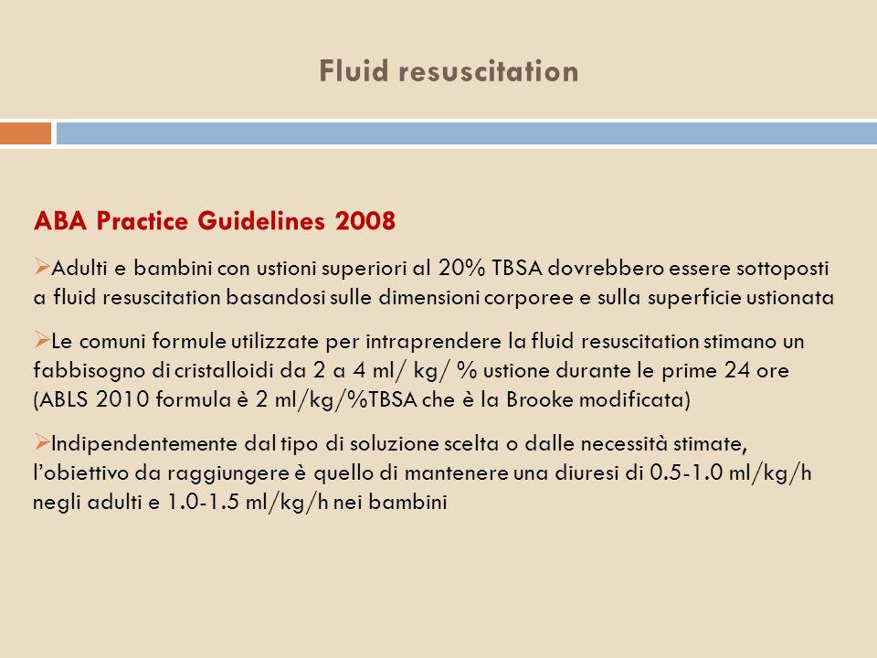 Fluid resuscitation ABA Practice Guidelines 2008  Adulti e bambini con ustioni superiori al 20% TBSA dovrebbero essere sottoposti a fluid resuscitati