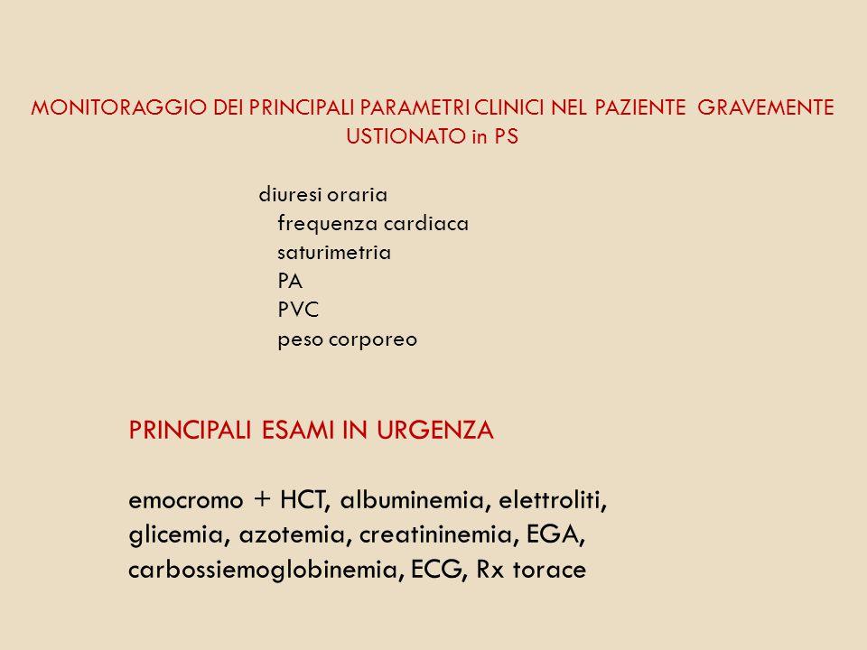 MONITORAGGIO DEI PRINCIPALI PARAMETRI CLINICI NEL PAZIENTE GRAVEMENTE USTIONATO in PS diuresi oraria frequenza cardiaca saturimetria PA PVC peso corpo