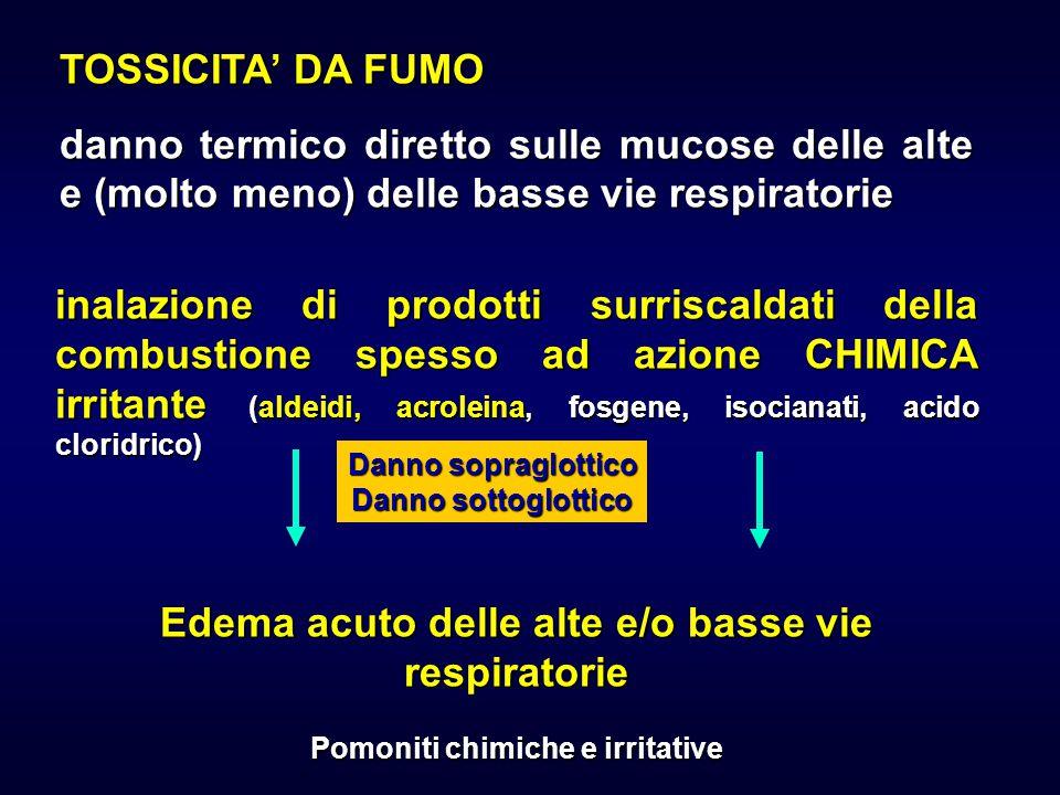 TOSSICITA' DA FUMO danno termico diretto sulle mucose delle alte e (molto meno) delle basse vie respiratorie inalazione di prodotti surriscaldati dell