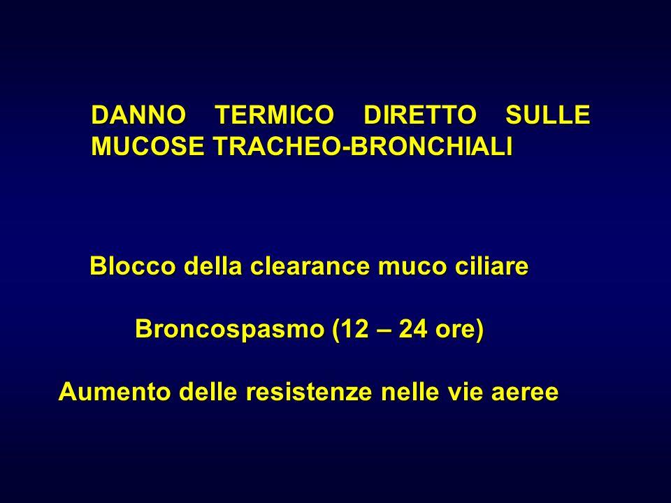 DANNO TERMICO DIRETTO SULLE MUCOSE TRACHEO-BRONCHIALI Blocco della clearance muco ciliare Broncospasmo (12 – 24 ore) Aumento delle resistenze nelle vi