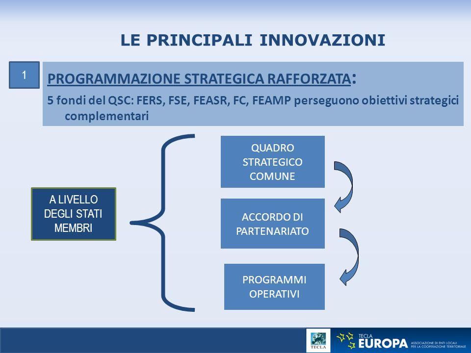 15 PROGRAMMAZIONE STRATEGICA RAFFORZATA : 5 fondi del QSC: FERS, FSE, FEASR, FC, FEAMP perseguono obiettivi strategici complementari LE PRINCIPALI INN